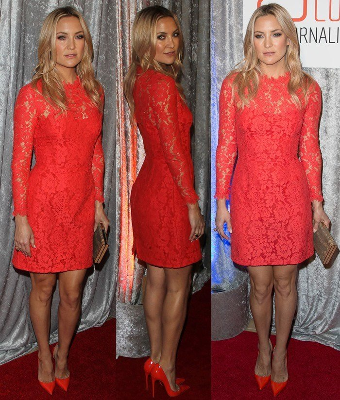 Kate Hudsonin a floral lace mini dress by Temperley London