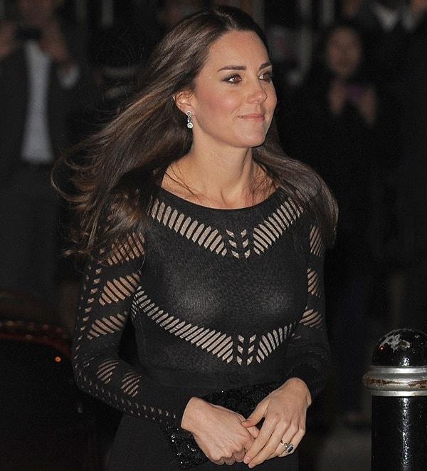 Catherine, Duchess of Cambridge, makes her third public appearance since announcing her second pregnancy at the Action on Addiction Autumn Gala in London, the UK on October 23, 2014