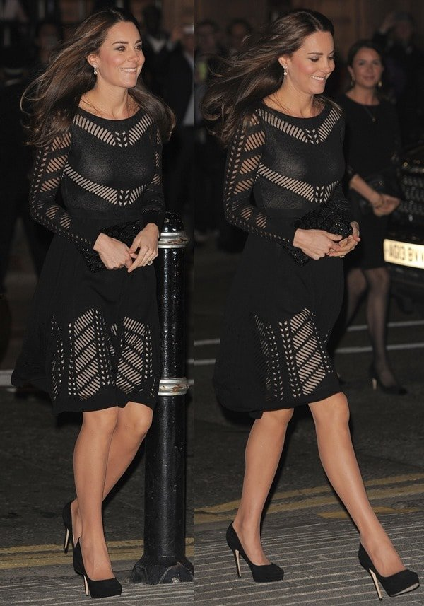Catherine, Duchess of Cambridge,flaunted her long legs in achic Temperley London dress
