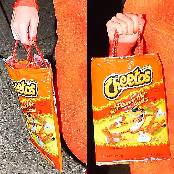 Katy Perry's Cheetos bag and orange nails