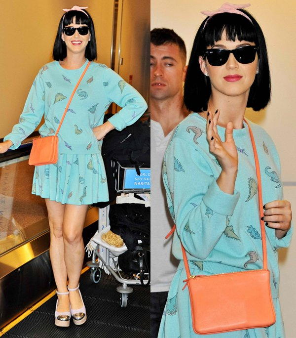 Katy Perry wore a matching Land Before Time-inspired dinosaur print sweater and skater skirt