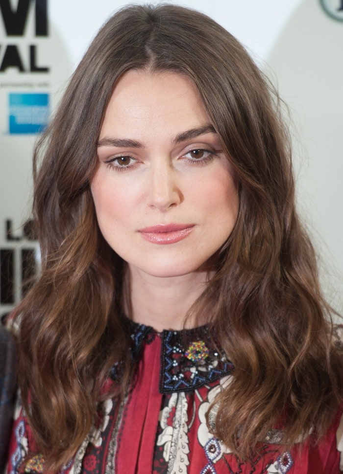 Keira Knightley at a photo call for her latest film, The Imitation Game, held at the Corinthia Hotel London during the 2014 BFI London Film Festival in London, England, on October 8, 2014