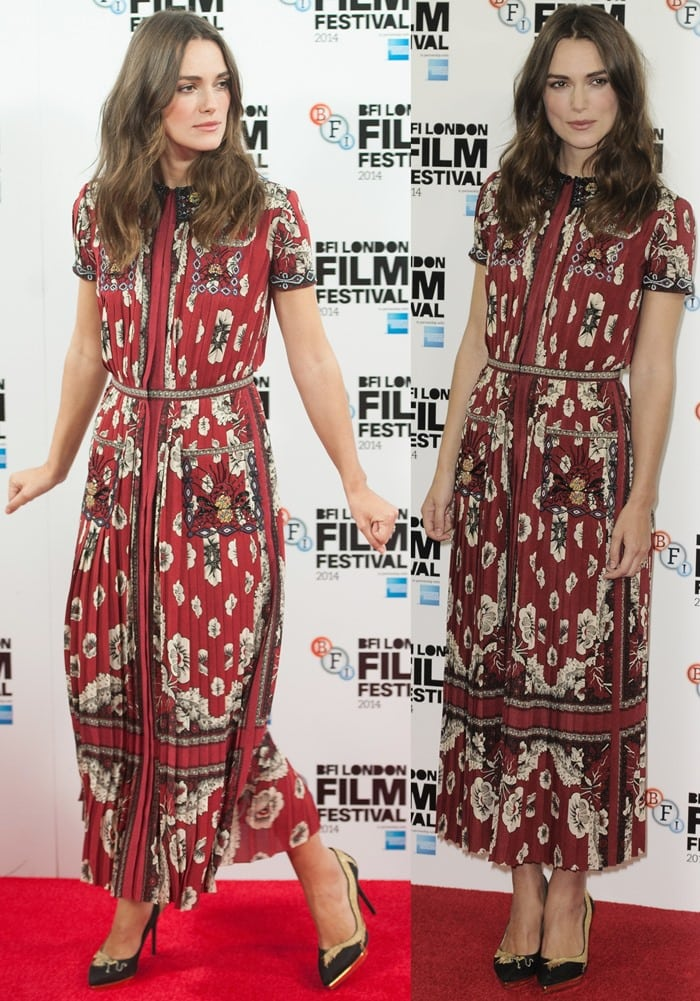 Keira Knightley in an arabesque and floral-print short-sleeved dress from the Valentino Spring 2015 collection