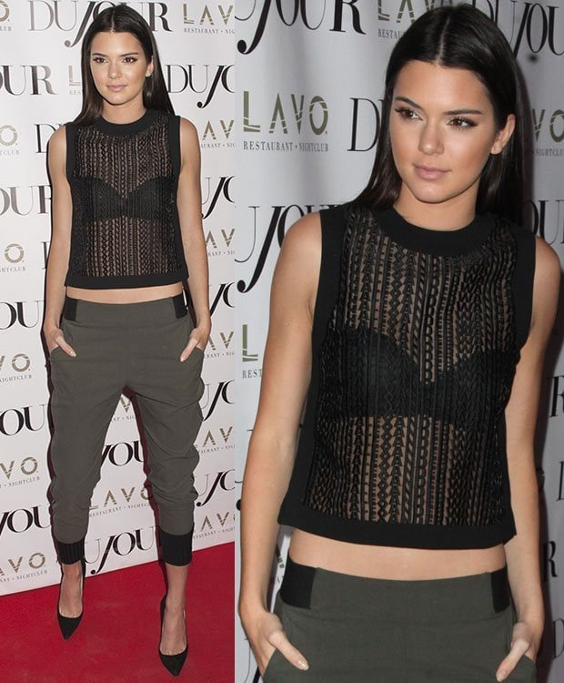 Kendall Jenner wearing an Alexander Wang top at the DuJour magazine cover party held at Lavo in New York City on August 28, 2014