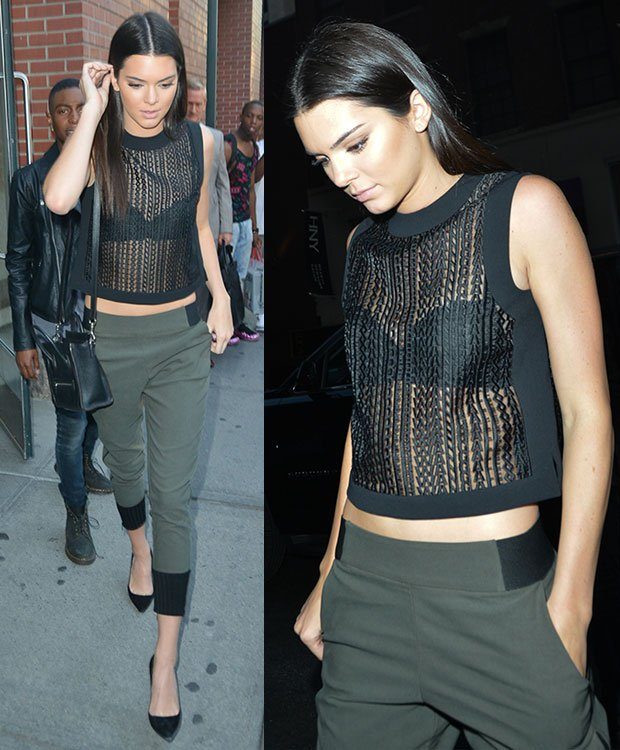 Kendall Jenner in cropped pants and Manolo Blahnik BB pumps