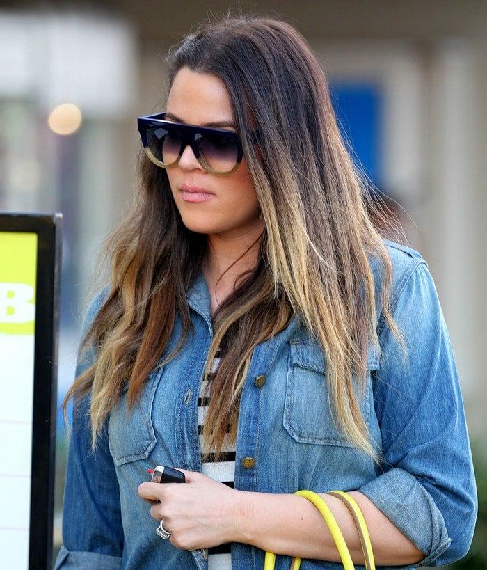 Khloe Kardashian seen leaving On The Thirty restaurant in Sherman Oaks in California on March 14, 2013