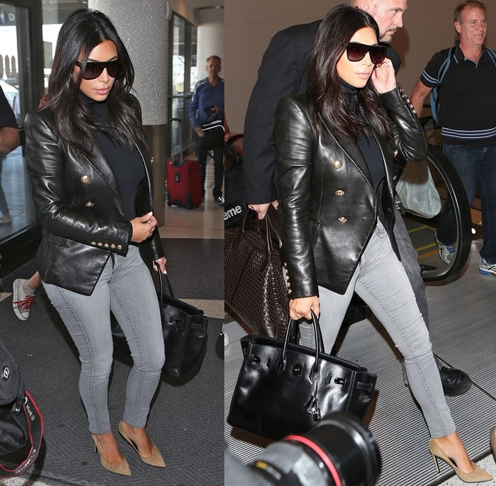 """Kim Kardashian sported nude lipstick, carried her favorite Hermes bag, and completed the outfit with a pair of Saint Laurent """"Paris"""" pump"""