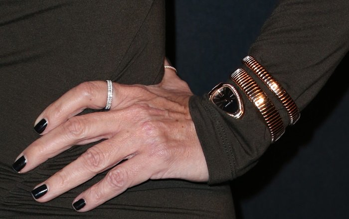Kris Jenner's black manicure and jewelry