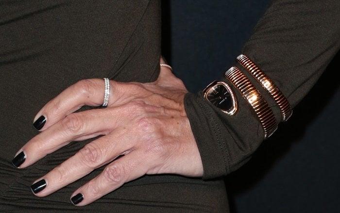 Kris Jenner's black manicure and jewelry