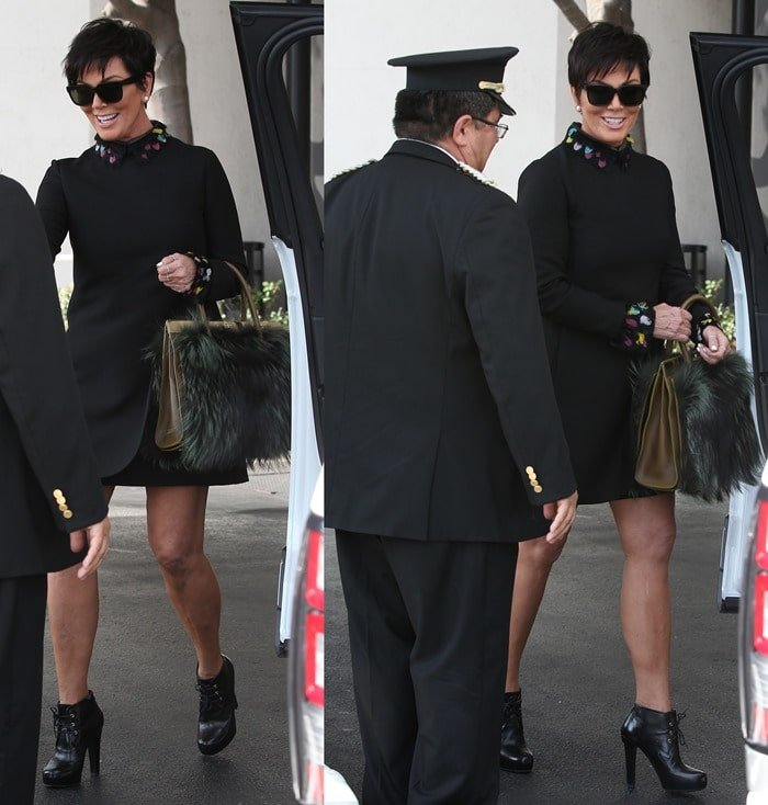 "Kris Jenner toting a furry Dee Ocleppo ""The Roma Tote"" handbag"