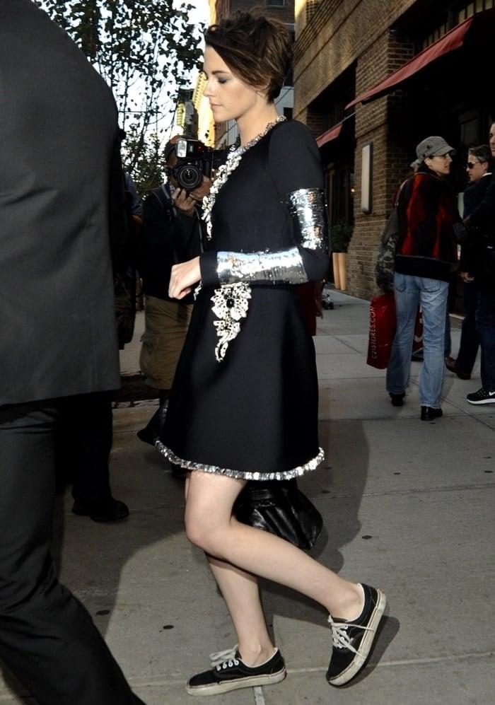 Kristen Stewart leaving her Greenwich hotel in a trusty pair of Vans sneakers