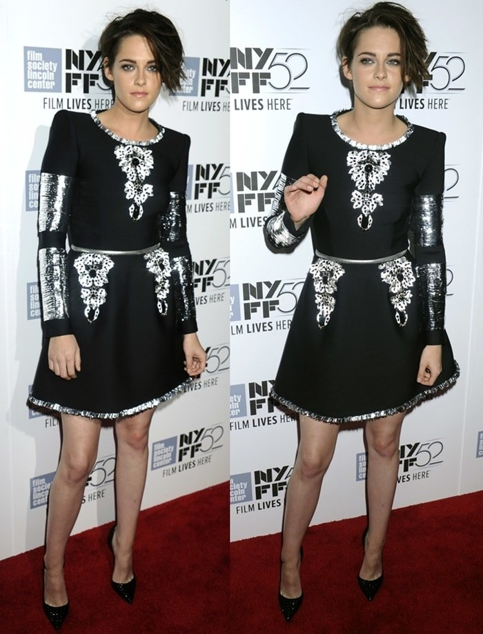Kristen Stewart wearing a Chanel Couture dress featuring dramatic detailing