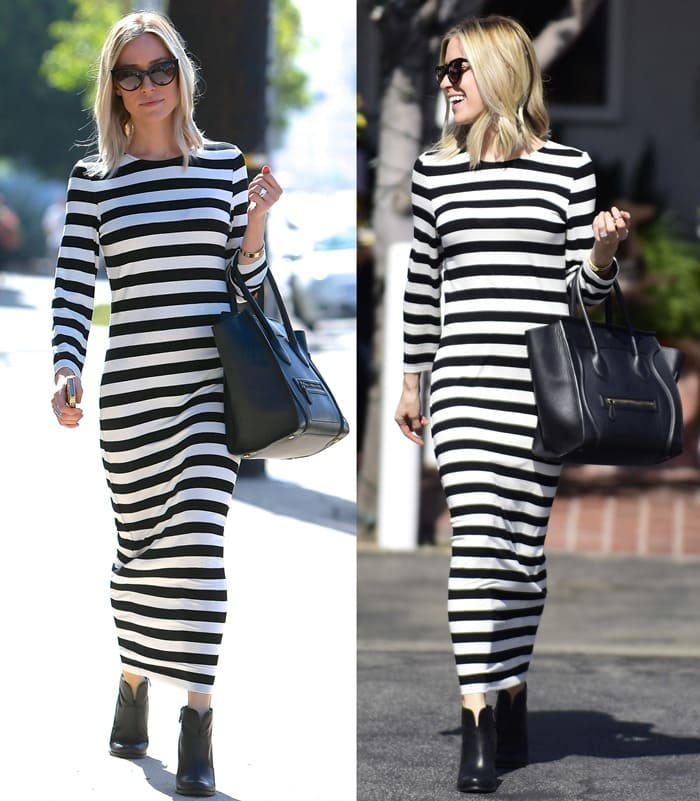 Kristin Cavallari looked like she was going to jail in a loose-fitting midi dress from Australian fashion label Bardot