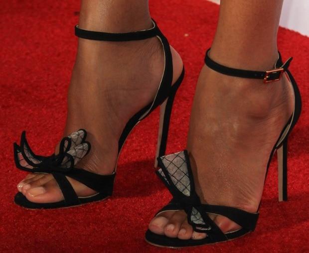 "Zoe Saldana inKurt Geiger's ""Maia"" suede sandals"