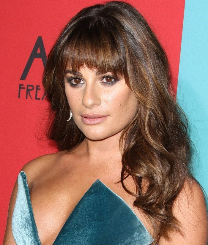 Lea Michele wearing a Cushnie et Ochs strapless velvet dress at the premiere of the fourth season of American Horror Story: Freak Show held at TCL Chinese Theatre in Hollywood on October 5, 2014