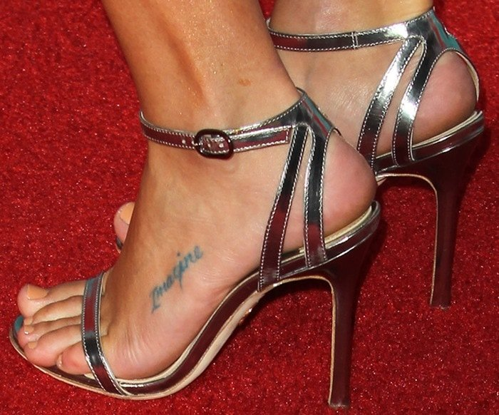 Lea Michele showing off her feet in gold strappy Chelsea Paris 'Sade' sandals