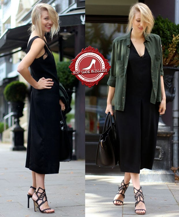 Leonie shows how to wearwide-leg pants with a military-style shirt