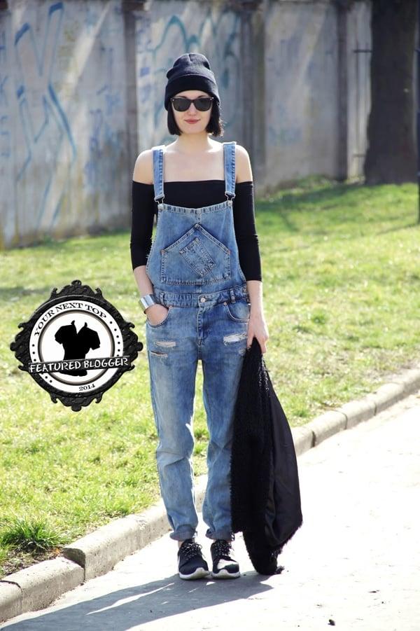 Lidka wears an off-shoulder top with denim overalls