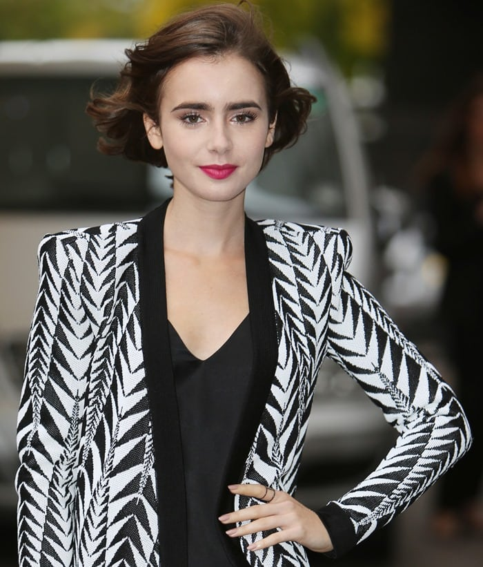 Lily Collins outside the ITV Studios in London, England, on October 6, 2014