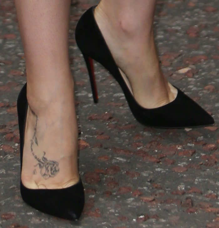 Lily Collins' the nature of this flower is to bloom English rose foot tattoo