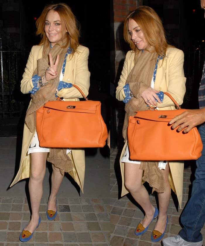 Lindsay Lohan arriving at Chiltern Firehouse in Marylebone, England, on September 28, 2014