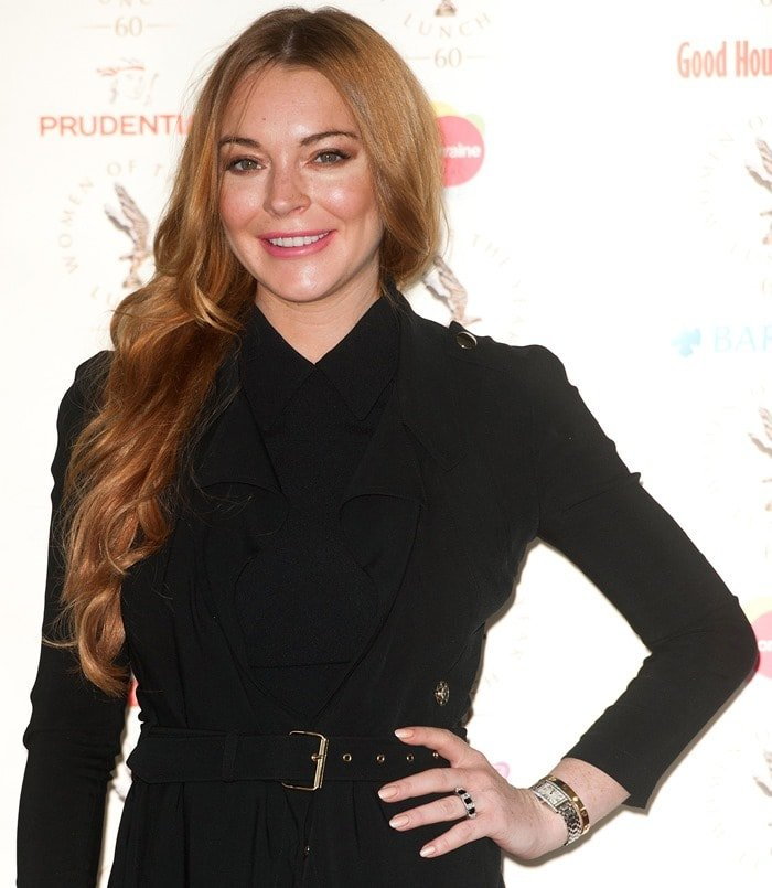 Lindsay Lohan at the 2014 Women of the Year lunch held at the InterContinental Park Lane Hotel in London on October 13, 2014