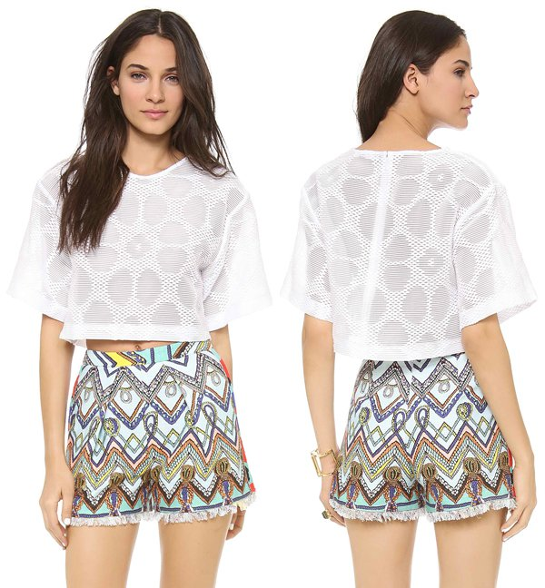MSGM Short Sleeve Structured Crop Blouse