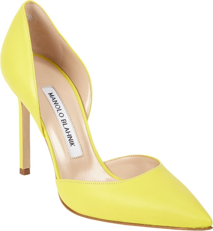 Manolo Blahnik Yellow Tayler Dorsay Pumps