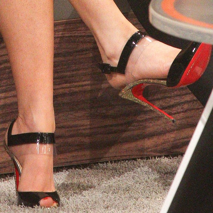 "Closeup of the Christian Louboutin ""Just On"" sandals on Megan Fox"