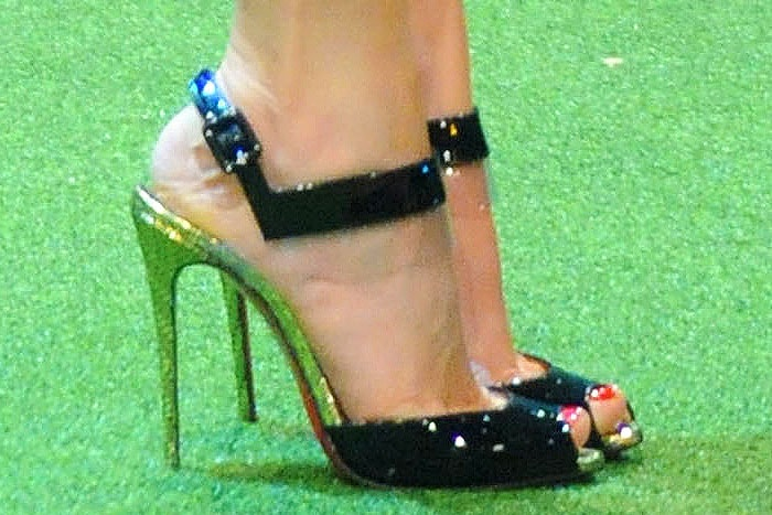 "Side-view of the Christian Louboutin ""Just On"" sandals on Megan Fox"