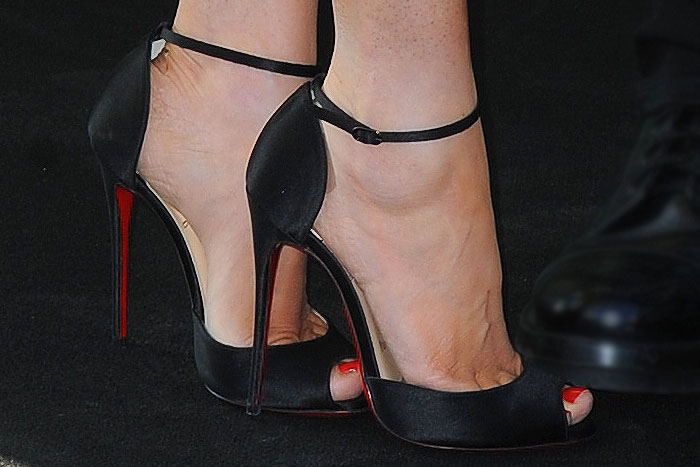 Megan Fox Louboutin ankle strap sandals