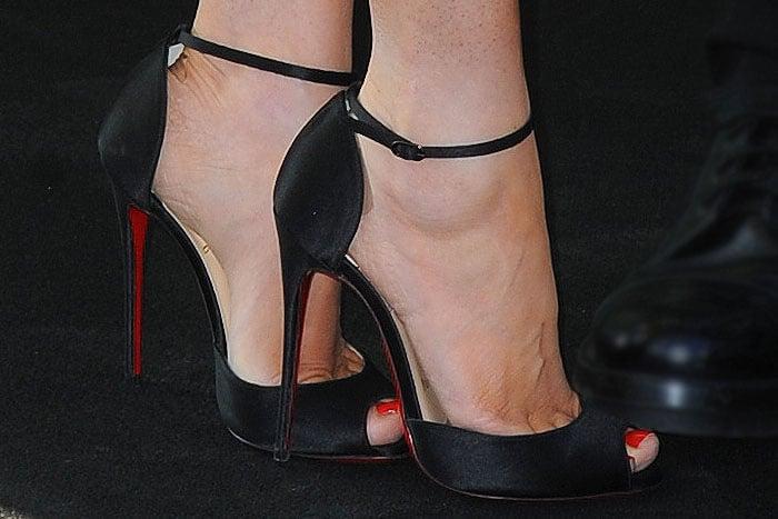 Megan Fox Louboutin ankle strap sandals