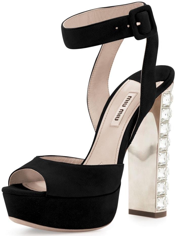 Miu Miu Suede Crystal-Heel Ankle-Wrap Sandals