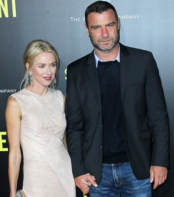 Actors Naomi Watts and Liev Schreiber attend the New York Premiere of 'St. Vincent' at the Ziegfeld Theater on October 6, 2014 in New York City