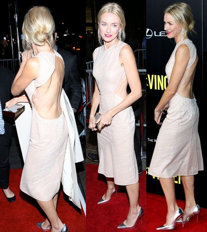 Naomi Watts in a sleeveless sequined cut-below-the-knee dress from the Jason Wu Resort 2015 collection featuring an open back