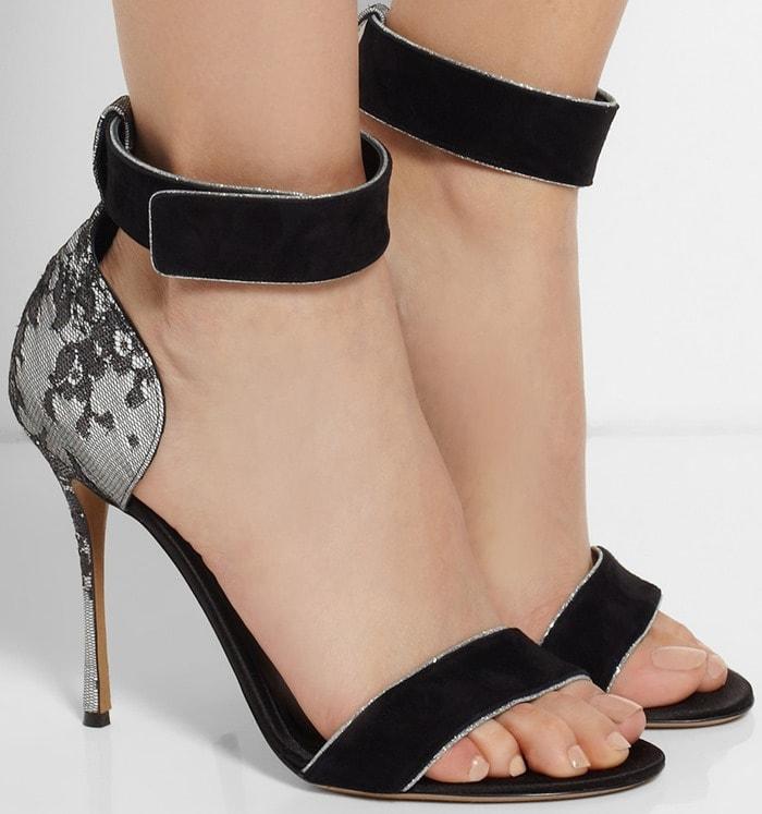 Nicholas Kirkwood Black Suede Lace and Satin Sandals
