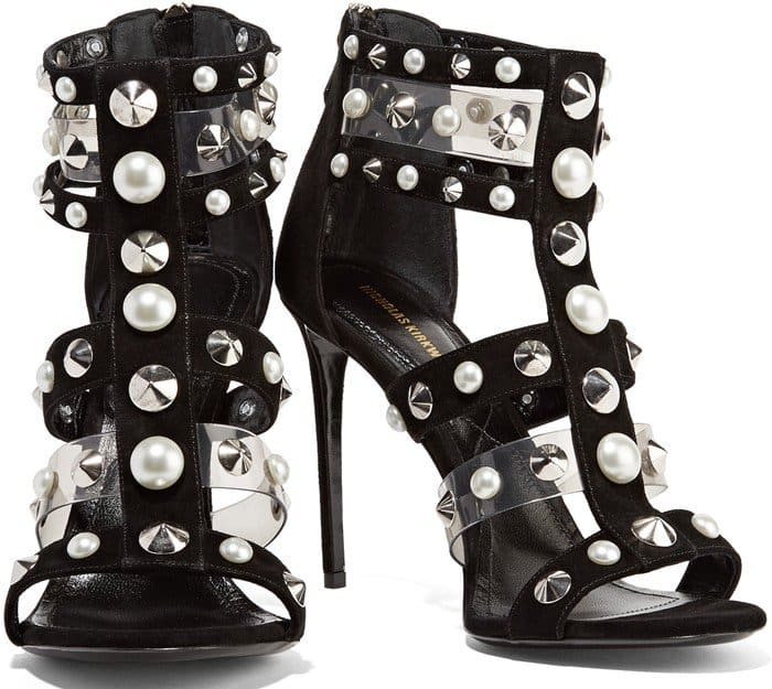 Nicholas Kirkwood Natural Caspia Pearl And Stud-embellished Suede And Pvc Sandals