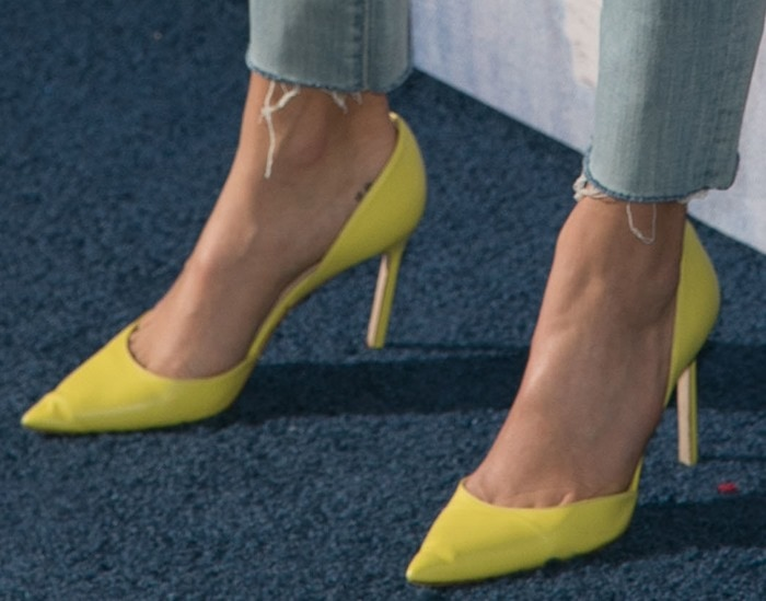 "Nikki Reed's feet in yellow leather ""Tayler"" d'Orsay pumps by Manolo Blahnik"