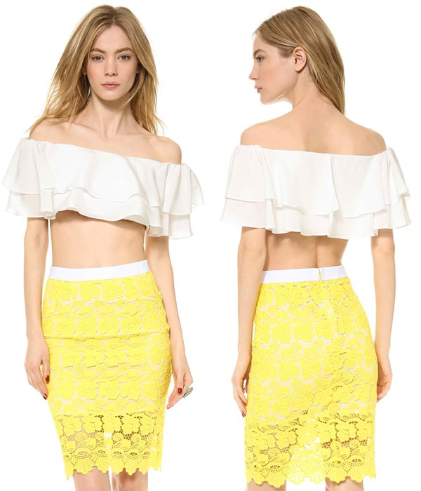 Flounces drape across this silk crop top, bringing whimsical volume to the flirty off-shoulder profile.