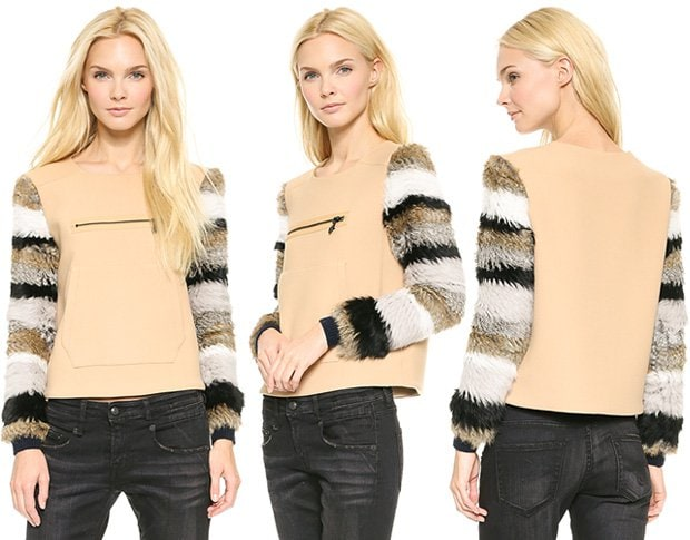 Opening Ceremony Keaton Fur-Sleeve Pullover