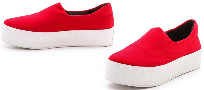Opening Ceremony White Slip On Platform Sneakers Tiger Red