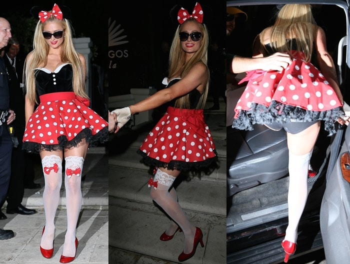 Paris Hilton in a large red polka-dot bow with a matching miniskirt and a form-fitting black-and-white bodice