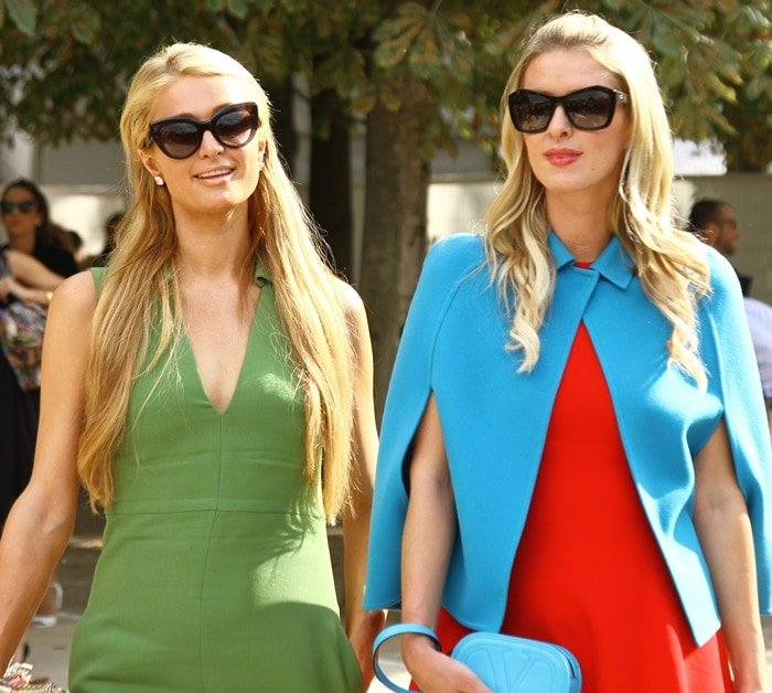Paris and Nicky Hilton at the Valentino show as part of Paris Fashion Week Womenswear Spring/Summer 2015 in Paris, France, on September 30, 2014