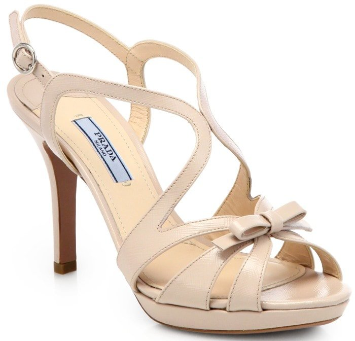 Prada Beige Patent Leather Crisscross Bow Sandals