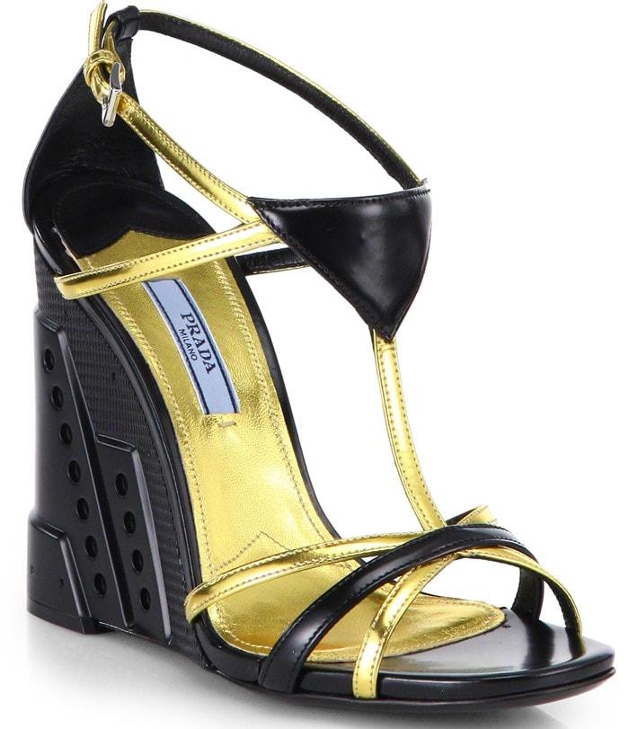 Prada Black Leather Perforatedwedge Sandals