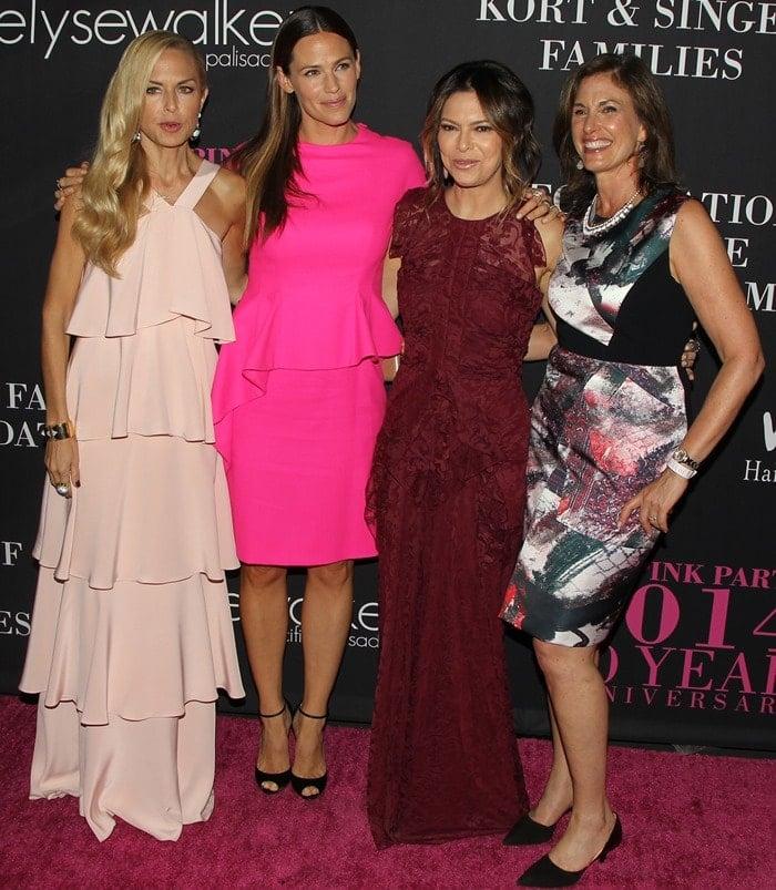 Rachel Zoe, Jennifer Garner, Elyse Walker, and Dr. Beth Karlan at Elyse Walker's 10th Anniversary Pink Party at HANGAR:8 in Santa Monica on October 18, 2014