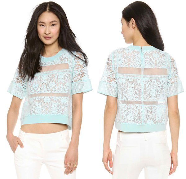 Wide bands of floral lace lend texture to a silk-organza Rebecca Taylor top