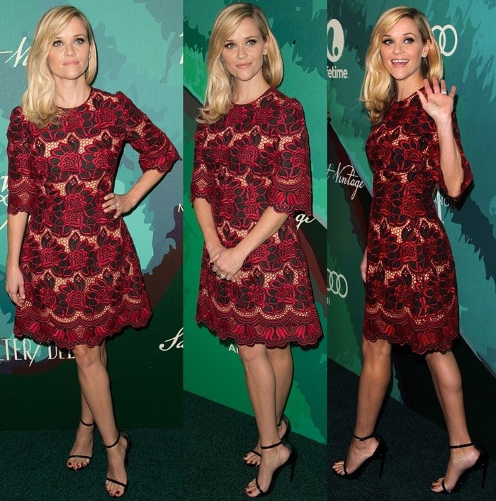 """Reese Witherspoon wearing open-toe Saint Laurent """"Jane"""" sandals at the 2014 Variety Power of Women event"""