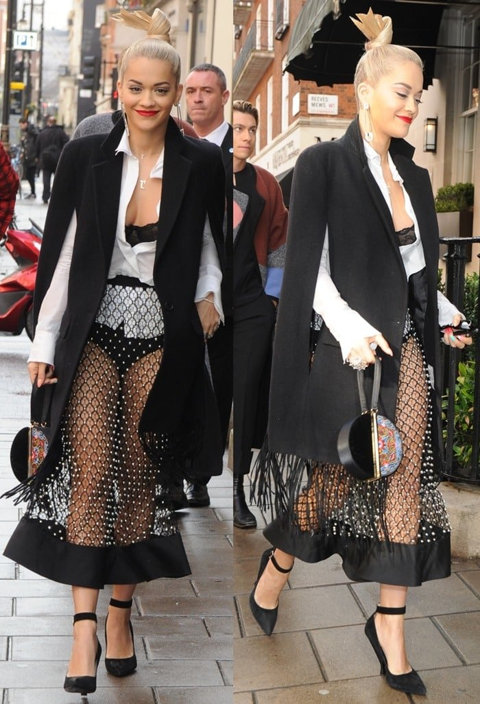 Rita Ora put her underwear on full display in a see-through net skirt paired with a white unbuttoned shirt