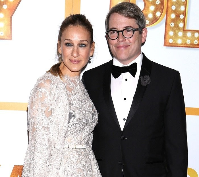 Matthew Broderick and Sarah Jessica Parker at the opening night after-party for It's Only a Playheld at the Marriott Marquis Hotel in New York City on October 9, 2014